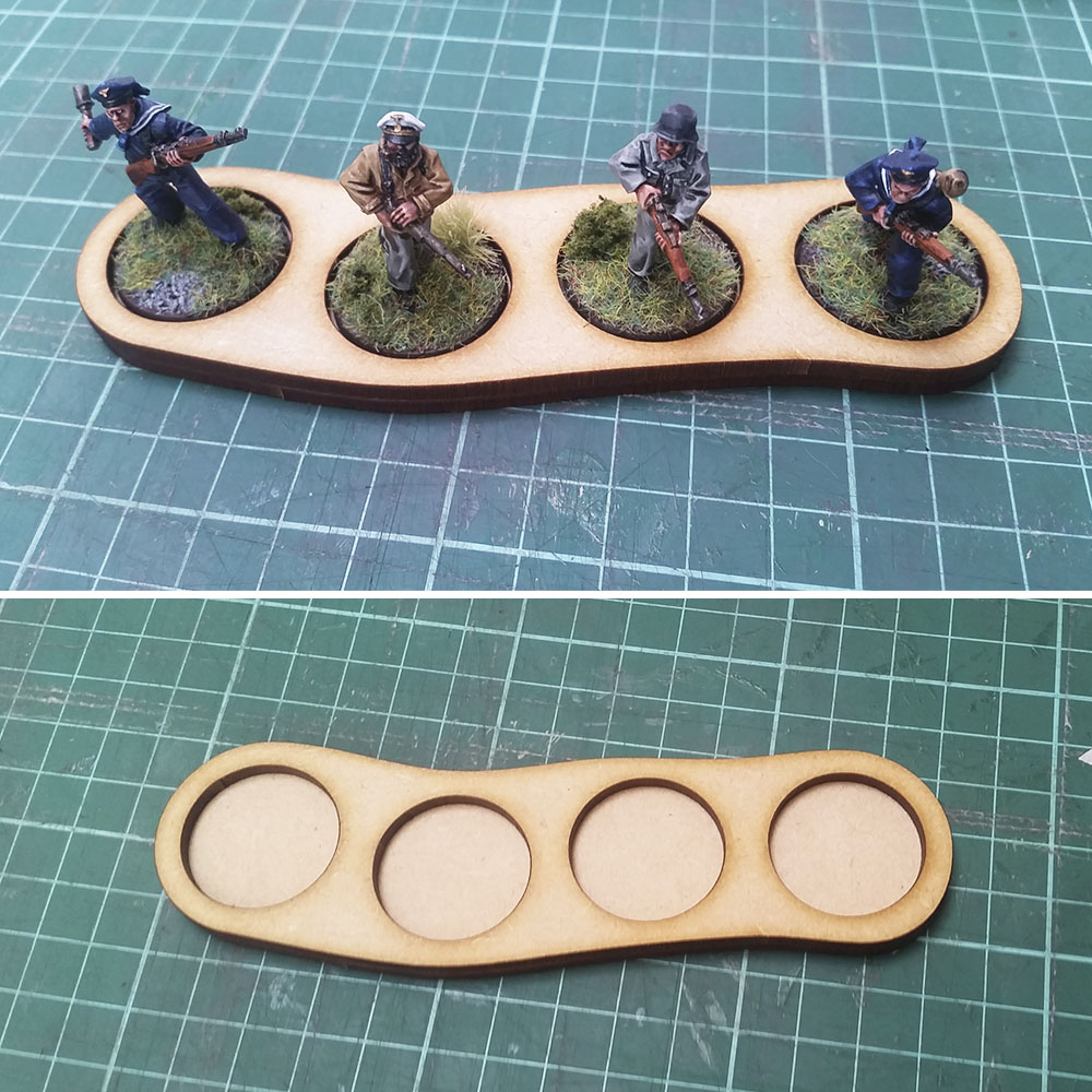25mm round base skirmish trays for 4 men