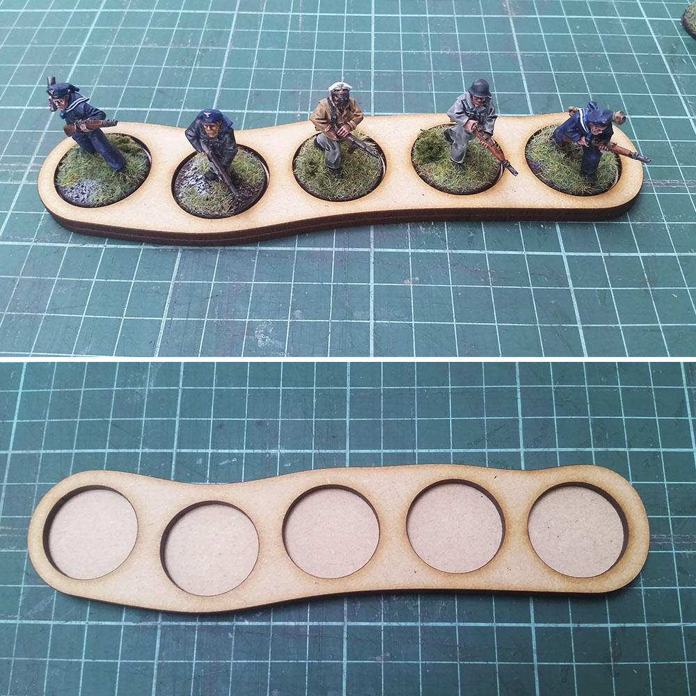 25mm round base skirmish trays for 5 men