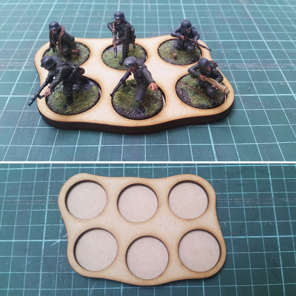25mm round base skirmish trays for 6 men