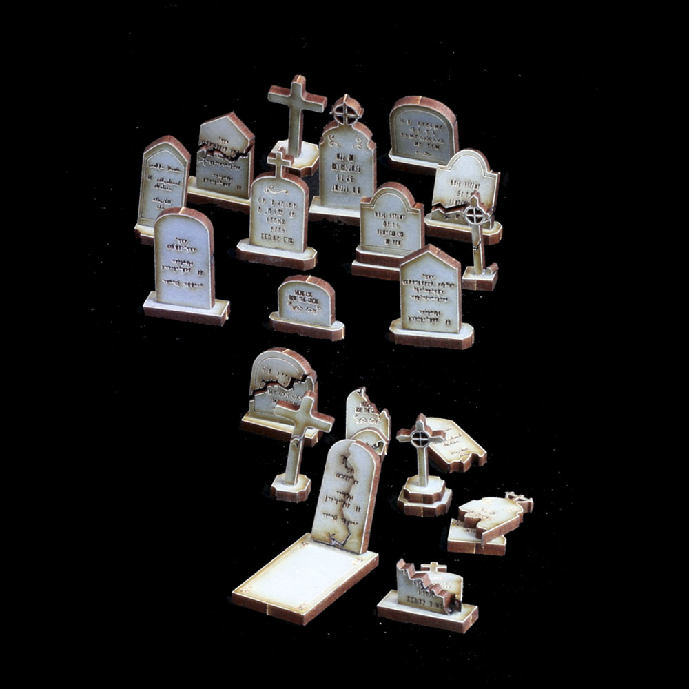 28mm laser cut mdf gravestones and tombstone terrain models