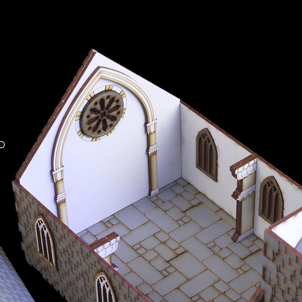 28mm mdf laser cut church model interior