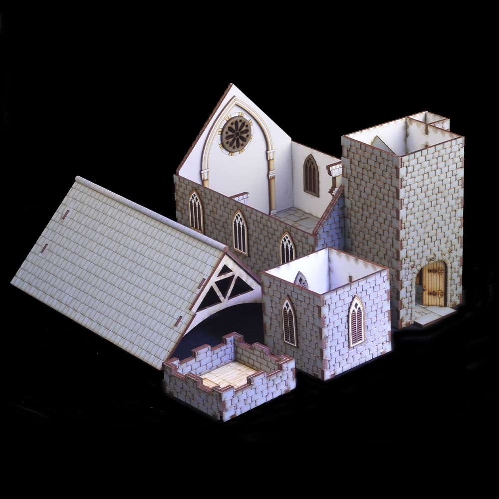 all the parts of a 28mm mdf laser cut church tabletop model