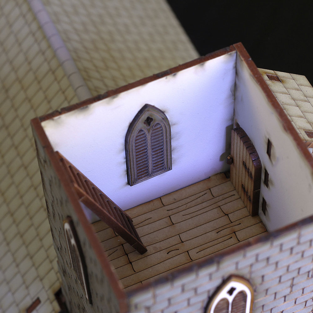 28mm church model tower room