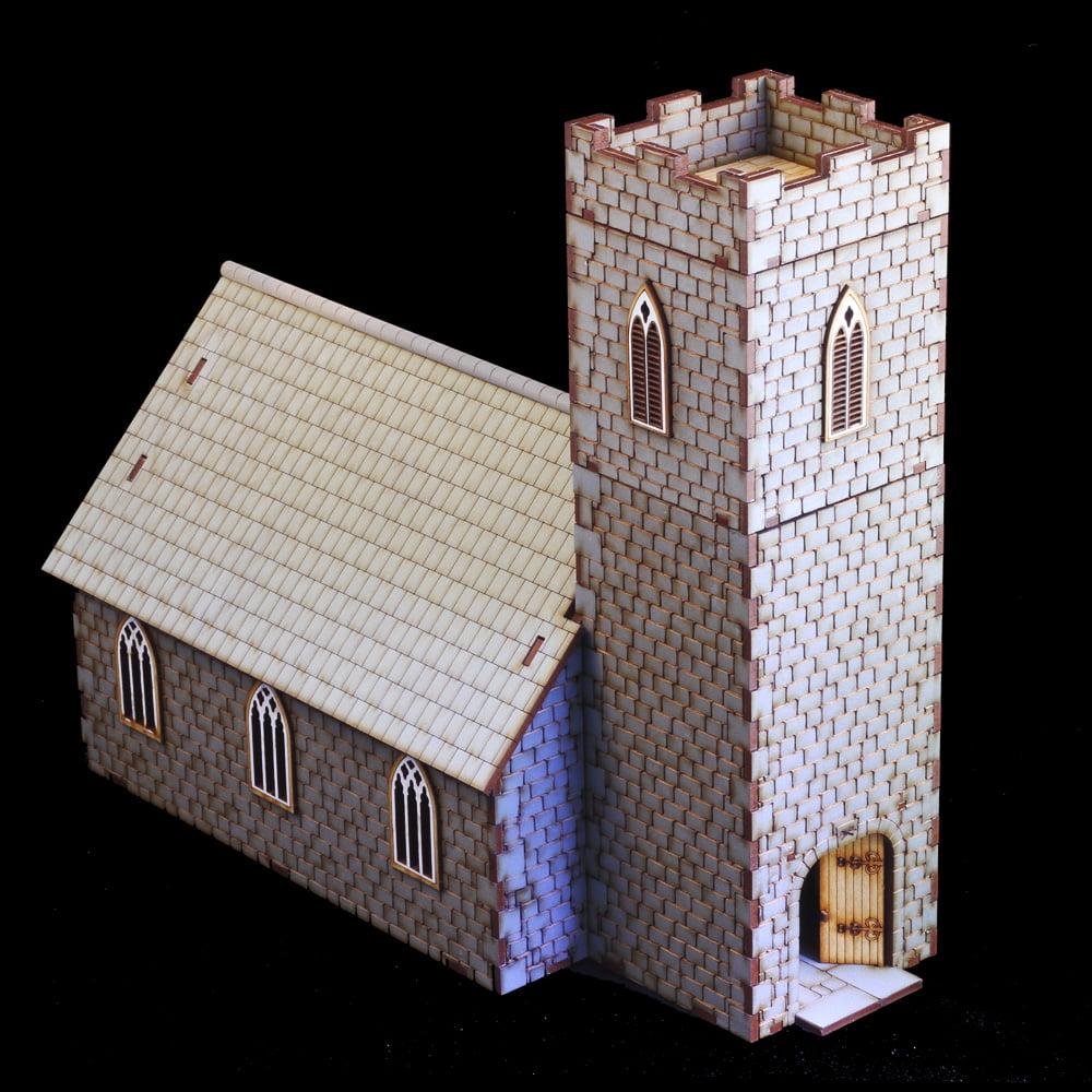28mm mdf laser cut church model for wargaming